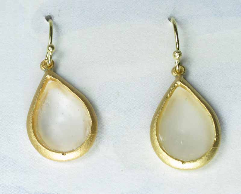 Cast Glass Pear Drop Earrings in Pearl